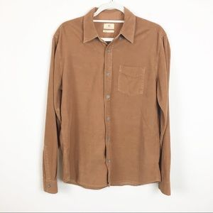 AG Adriano Goldschmied Brown Corduroy Button Down